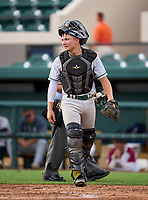Mosley Dolphins catcher Coleman Rowan (13) during the 42nd Annual FACA All-Star Baseball Classic on June 6, 2021 at Joker Marchant Stadium in Lakeland, Florida.  (Mike Janes/Four Seam Images)