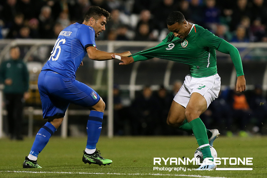 EVENT:<br /> UEFA European U21 Championship Qualifier Group 1 Republic of Ireland v Italy<br /> Thursday 10th October 2019,<br /> Tallaght Stadium, Dublin<br /> <br /> CAPTION:<br /> Adam Idah of Republic of Ireland in action against Riccardo Marchizza of Italy<br /> <br /> Photo By: Michael P Ryan