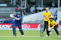 Eoin Morgan, London Spirit drives into the covers during London Spirit Men vs Trent Rockets Men, The Hundred Cricket at Lord's Cricket Ground on 29th July 2021