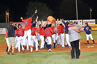 Elizabethton Twins players celebrate after winning the Appalachian League Championship Series against the Princeton Rays 2-1 at Joe O'Brien Field on September 5, 2018 in Elizabethton, Tennessee. (Tony Farlow/Four Seam Images)