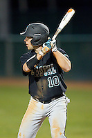 Richard Carter (10) of the Coastal Carolina Chanticleers at bat against the High Point Panthers at Willard Stadium on March 15, 2014 in High Point, North Carolina.  The Panthers defeated the Chanticleers 11-8 in game two of a double-header.  (Brian Westerholt/Four Seam Images)