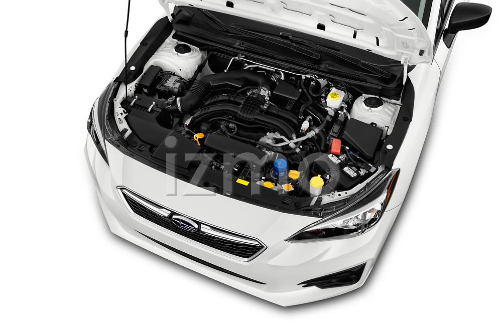 Car Stock 2017 Subaru Impreza CVT 5 Door Hatchback Engine  high angle detail view