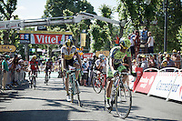 """Alberto Contador (ESP/Tinkoff-Saxo) finishes 18"""" behind the stage winner.<br /> Robert Gesink (NLD/Team LottoNL-Jumbo) is right behind Contador.<br /> <br /> stage 3: Antwerpen (BEL) - Huy (BEL)<br /> 2015 Tour de France"""