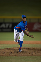 AZL Cubs relief pitcher Andry Rondon (99) follows through on his delivery during an Arizona League game against the AZL Brewers at Sloan Park on June 29, 2018 in Mesa, Arizona. The AZL Cubs 1 defeated the AZL Brewers 7-1. (Zachary Lucy/Four Seam Images)