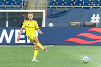 FOXBOROUGH, MA - OCTOBER 3: Alistair Johnston #12 of Nashville SC passes the ball during a game between Nashville SC and New England Revolution at Gillette Stadium on October 3, 2020 in Foxborough, Massachusetts.