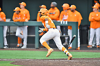 Tennessee Volunteers right fielder Justin Ammons (9) runs to first base during a game against the Appalachian State Mountaineers at Lindsey Nelson Stadium on February 16, 2019 in Knoxville, Tennessee. The Volunteers defeated Mountaineers 2-0. (Tony Farlow/Four Seam Images)