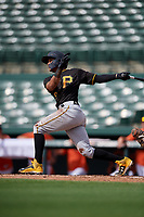 Pittsburgh Pirates shortstop Adrian Valerio (29) flies out during a Florida Instructional League game against the Baltimore Orioles on September 22, 2018 at Ed Smith Stadium in Sarasota, Florida.  (Mike Janes/Four Seam Images)