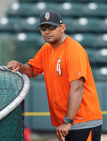 Manager Lipso Nava (17) of the Augusta GreenJackets, a San Francisco Giants affiliate, prior to a game against the Greenville Drive on April 19, 2012, at Fluor Field at the West End in Greenville, South Carolina. (Tom Priddy/Four Seam Images)