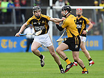 Tony Kelly of Ballyea in action against Nicky O Connell of Clonlara during the senior hurling county final at Cusack park. Photograph by John Kelly.