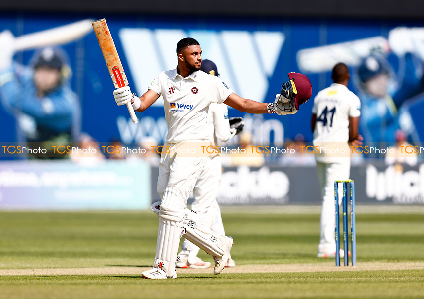 Emilio Gay celebrates his hundred for Northants during Kent CCC vs Northamptonshire CCC, LV Insurance County Championship Group 3 Cricket at The Spitfire Ground on 3rd June 2021