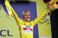 8th July 2021; Nimes, France; POGACAR Tadej (SLO) of UAE TEAM EMIRATES pictured with the yellow jersey during the podium ceremony during stage 12 of the 108th edition of the 2021 Tour de France cycling race, a stage of 159,4 kms between Saint-Paul-Trois-Chateaux and Nimes.