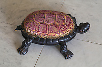 BNPS.co.uk (01202) 558833<br /> Pic: NT/JamesDobson/BNPS<br /> <br /> The tortoise footstool bought by Henrietta Bankes in the 1880s for Kingston Lacy in Dorset.<br /> <br /> Slow and steady wins the race...<br /> <br /> A set of bronze tortoises stolen from a country mansion have finally been returned... 29 years later.<br /> <br /> The bronze sculptures based on the wealthy 19th century owner's pet were stolen from Kingston Lacy in Dorset in 1992 and reported to the police but never found until a savvy historian spotted one up for auction recently.<br /> <br /> Following the trail, the National Trust traced the tortoise to an antiques dealer, who had acquired the set from a scrap metal dealer, completely unaware of their history.<br /> <br /> The four missing sculptures have finally been returned to Kingston Lacy and gone on display.