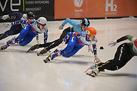 SPEEDSKATING: DORDRECHT: 06-03-2021, ISU World Short Track Speedskating Championships, SF 500m Men, Konstantin Ivliev (RSU), Semen Elistratov (RSU), Stijn Desmet (BEL),  ©photo Martin de Jong