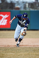 Pittsburgh Panthers infielder Evan Oswald (5) during game against the St. John's Redstorm at Jack Kaiser Stadium on March 22, 2013 in Queens, New York.  Pittsburgh defeated St. John's 12-9.  (Tomasso DeRosa/Four Seam Images)