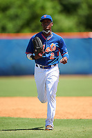 GCL Mets left fielder Grabiel Jimenez (2) jogs to the dugout during a game against the GCL Marlins on August 12, 2016 at St. Lucie Sports Complex in St. Lucie, Florida.  GCL Marlins defeated GCL Mets 8-1.  (Mike Janes/Four Seam Images)
