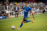 SAN JOSE, CA - JULY 24: Paul Marie #3 of the San Jose Earthquakes dribbles the ball during a game between San Jose Earthquakes and Houston Dynamo at PayPal Park on July 24, 2021 in San Jose, California.