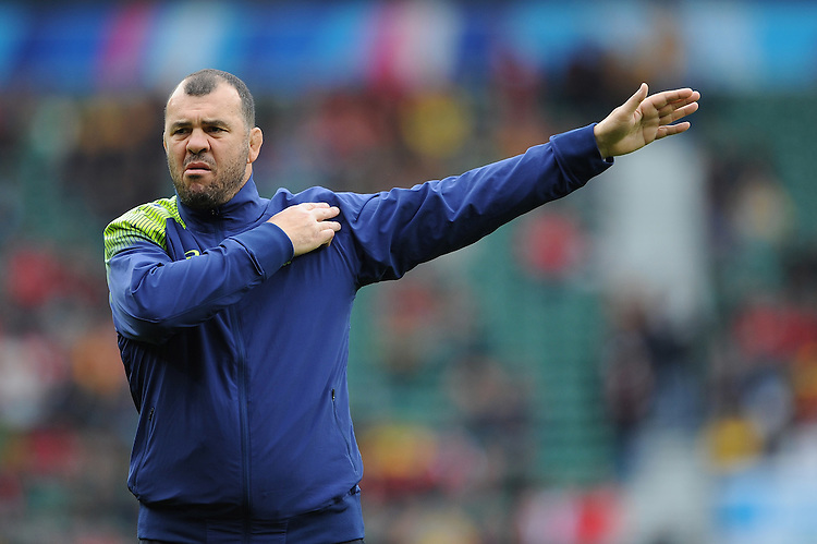 Michael Cheika, Australia Head Coach, during the warm up before Match 35 of the Rugby World Cup 2015 between Australia and Wales - 10/10/2015 - Twickenham Stadium, London<br /> Mandatory Credit: Rob Munro/Stewart Communications