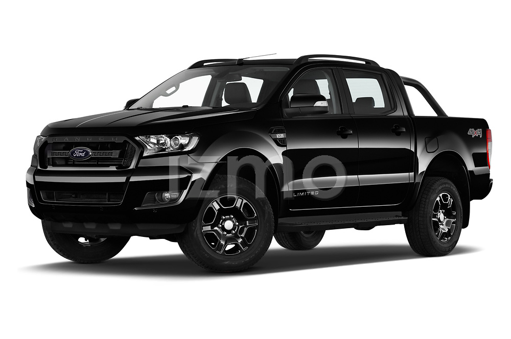 Stock pictures of low aggressive front three quarter view of 2018 Ford Ranger Limited-Black-Edition 4 Door Pick-up Low Aggressive