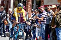 TUNJA - COLOMBIA, 11-02-2020: Integrantre del COLOMBIA TIERRA DE ATLETAS GW durante la primera etapa del Tour Colombia 2.1 2020 con un recorrido de 16,7 km CRE, que se corrió con salida y llegada enTunja, Boyacá. / COLOMBIA TIERRA DE ATLETAS GW member during the first stage of 16,7 km TTT of Tour Colombia 2.1 2020 that ran with start and arrival in Tunja, Boyaca.  Photo: VizzorImage / Darlin Bejarano / Cont