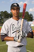 Bristol shortstop Hancer Vargas (38) at Burlington Athletic Park in Burlington, NC, Thursday, July 12, 2007.