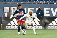 FOXBOROUGH, MA - OCTOBER 09: Damian Rivera #72 of New England Revolution II and Brian Rosales #2 of Fort Lauderdale CF collide in a tackle during a game between Fort Lauderdale CF and New England Revolution II at Gillette Stadium on October 09, 2020 in Foxborough, Massachusetts.
