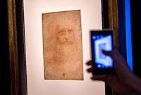 Presentazione alla stampa dell'Autoritratto di Leonardo da Vinci in mostra dal 23 giugno al 3 agosto ai Musei Capitolini, Roma, 22 giugno 2015.<br /> The self portrait of Leonardo da Vinci (Portrait of a man in red chalk) displayed at the Capitoline Museums  from 23 June o 3 August, in Rome, 22 June 2015.<br /> UPDATE IMAGES PRESS/Riccardo De Luca