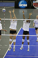 Omaha, NE - DECEMBER 20:  Middle blocker Stephanie Browne #15 and middle blocker Janet Okogbaa #2 of the Stanford Cardinal during Stanford's 2008 NCAA Division I Women's Volleyball Final Four Championship closed practice before playing the Penn State Nittany Lions on December 20, 2008 at the Qwest Center in Omaha, Nebraska.