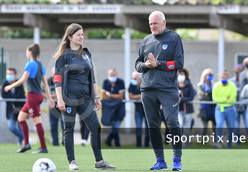 head coach Guido Brepoels of Racing Genk pictured with assistant coach Sarah Geurts of Racing Genk during a female soccer game between Club Brugge Dames YLA and Racing Genk Ladies on the second matchday of the 2020 - 2021 season of Belgian Scooore Women s SuperLeague , saturday 5 th of September 2020  in Brugge , Belgium . PHOTO SPORTPIX.BE | SPP | DAVID CATRY