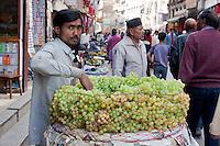Kathmandu, Nepal.  Grape Vendor, Downtown Kathmandu.
