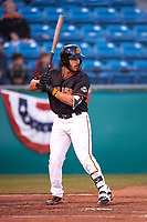 San Jose Giants third baseman David Villar (28) during a California League game against the Visalia Rawhide on April 12, 2019 at San Jose Municipal Stadium in San Jose, California. Visalia defeated San Jose 6-2. (Zachary Lucy/Four Seam Images)