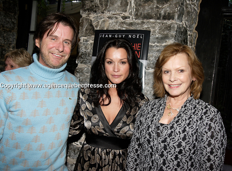 Dr Rejean Thomas (L)  Sophie Chiasson (R) , Lisette Lapointe (R) at Chiasson  book launch, 2006-09-21.<br /> <br /> she is a weather presentator on TVA who won a diffamtion lawsuit against Quebec City Genex radio host Jeff Fillion<br /> Photo by P. Roussel / Images Distribution