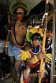 Altamira, Brazil. Xicrin Kayapo warriors at an Indigenous protest conference in February 1989 against proposed dams on the Xingu River. Para State.