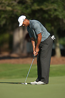 PONTE VEDRA BEACH, FL - MAY 5: Tiger Woods putts on the green of the par 3 8th hole during Tiger's practice round on Tuesday, May 5, 2009 for the Players Championship, beginning on Thursday, at TPC Sawgrass in Ponte Vedra Beach, Florida.