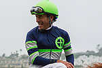 """DEL MAR, CA. AUGUST 26: Smiling Gary Stevens after winning the  Pat O'Brien Stakes (Grade ll), Breeders' Cup """"Win and You're in Dirt Mile Division"""" on August 26, 2017, at Del Mar Thoroughbred Club in Del Mar, CA.(Photo by Casey Phillips/Eclipse Sportswire/Getty )"""