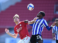 27th September 2020; Ashton Gate Stadium, Bristol, England; English Football League Championship Football, Bristol City versus Sheffield Wednesday;  Chris Martin of Bristol City competes in the air for the ball with Dominic Iorfa of Sheffield Wednesday