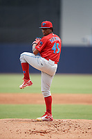 Clearwater Threshers starting pitcher Sixto Sanchez (45) delivers a pitch during a game against the Tampa Tarpons on April 22, 2018 at George M. Steinbrenner Field in Tampa, Florida.  Clearwater defeated Tampa 2-1 (Mike Janes/Four Seam Images)