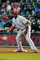 Philadelphia Phillies first baseman Ryan Howard #6 holds on a baserunner during the Major League baseball game against the Houston Astros on September 16th, 2012 at Minute Maid Park in Houston, Texas. The Astros defeated the Phillies 7-6. (Andrew Woolley/Four Seam Images).