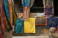 Hand embroidered items are offered for sale inside the JAISALMER FORT - RAJASTHAN, INDIA