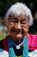 Portrait of an old Taos Pueblo Indian woman in New Mexico, USA