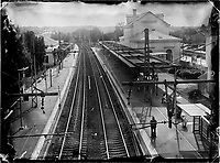 The Fontainebleau - Avon train station is seen in France. In 1849, Napoleon III inaugurated the first railway from Paris to Fontainebleau. With the arrival of train technology, the speed of transport and life changed forever. Ahead of his time, Claude François Denecourt's trails and hiking guidebook were a success as people began to flock to the forest to find a slower pace of life and enjoy walking in nature.