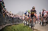 Yves LAMPAERT (BEL/Deceuninck-Quick Step) in the first passage up the Oude Kwaremont<br /> <br /> 103rd Ronde van Vlaanderen 2019<br /> One day race from Antwerp to Oudenaarde (BEL/270km)<br /> <br /> ©kramon