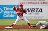Batavia Muckdogs shortstop Anthony Melchionda #16 during a game against the Auburn Doubledays at Dwyer Stadium on June 18, 2012 in Batavia, New York.  Auburn defeated Batavia 6-5.  (Mike Janes/Four Seam Images)