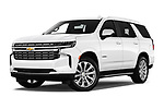 Stock pictures of low aggressive front three quarter view of 2021 Chevrolet Tahoe Premier 5 Door SUV Low Aggressive