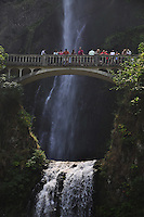 People n Footbridge Over Multnomah Falls, Columbia River Gorge National Scenic Area, Oregon, US