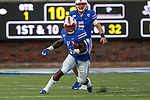 Southern Methodist Mustangs running back Ke'Mon Freeman (2) in action during the game between the Tulsa Golden Hurricanes and the SMU Mustangs at the Gerald J. Ford Stadium in Fort Worth, Texas.