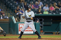 Ben Bengtson (5) of the West Virginia Power at bat against the Greensboro Grasshoppers at First National Bank Field on August 9, 2018 in Greensboro, North Carolina. The Power defeated the Grasshoppers 9-7 in game two of a double-header. (Brian Westerholt/Four Seam Images)