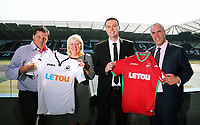 Pictured L-R: Leigh Dineen, CHECK NAME, Paul Fox, CEO of Letou with Chris Pearlman, COO of Swansea City FC. Monday 19 June 2017<br />