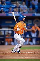 St. Lucie Mets center fielder Gene Cone (9) follows through on a swing during a game against the Daytona Tortugas on August 3, 2018 at First Data Field in Port St. Lucie, Florida.  Daytona defeated St. Lucie 3-2.  (Mike Janes/Four Seam Images)