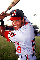 Manny Ramirez of the Kinston Indians, the class A Carolina League affiliate of the Cleveland Indians,at Calvin Falwell Field in Lynchburg, VA in 1992 (Photo by Ken Babbitt/Four Seam Images)