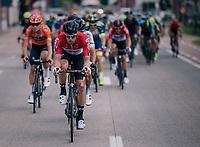 Jens Debusschere (BEL/Lotto-Soudal) driving the peloton<br /> <br /> 3rd Dwars Door Het hageland 2018 (BEL)<br /> 1 day race:  Aarschot > Diest: 198km